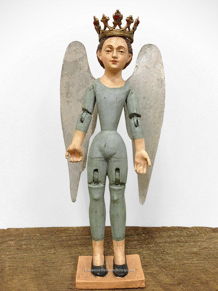 Mini Santos Angel Mannequin, Articulated with Wings - Aqua