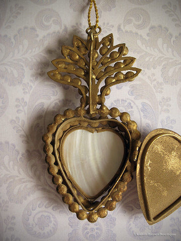 French Jeweled Mother of Pearl Flaming Heart Ex-Voto