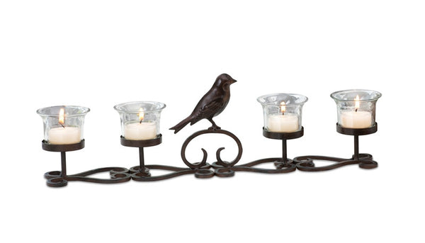Bird Trellis Candle Holder for Mantle or Table Runner