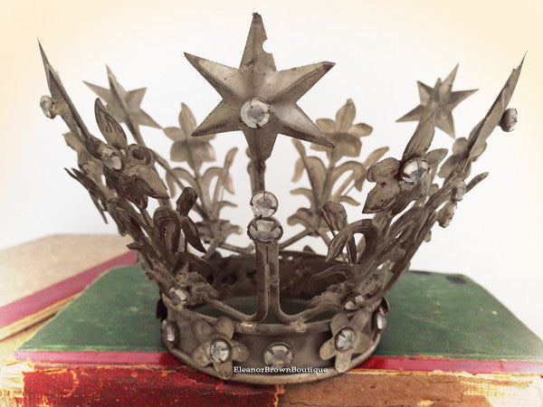 Small Silver Plated Madonna Santos Crown - Vintage French Style