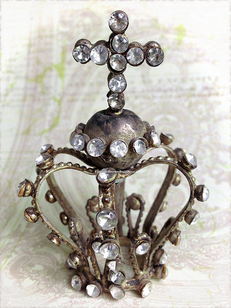 Tiny Bejeweled Silver Santos Crown with Cross