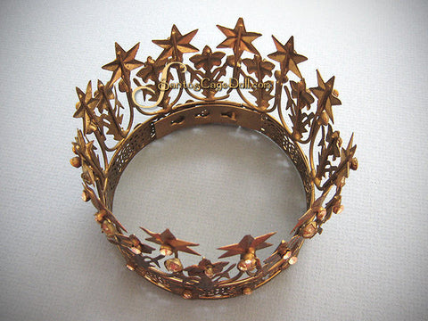 "Jeweled French Star Santos Crown 4"" wide"
