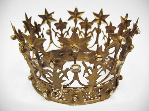 "Jeweled French Star Santos Crown 3"" wide"