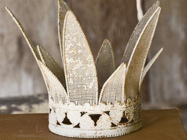 Small White Shabby Mesh Crown