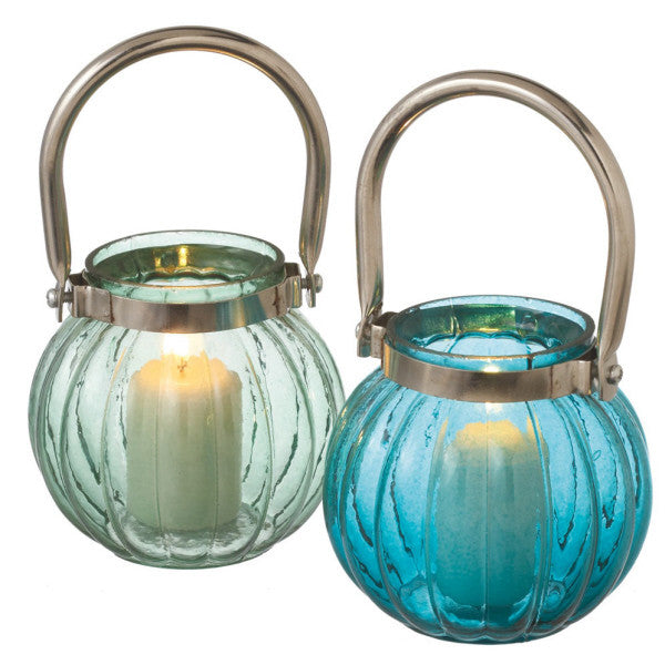 Ribbed Glass Votive Candle Holders - Set of 2 in Ocean Blue and Sea Green