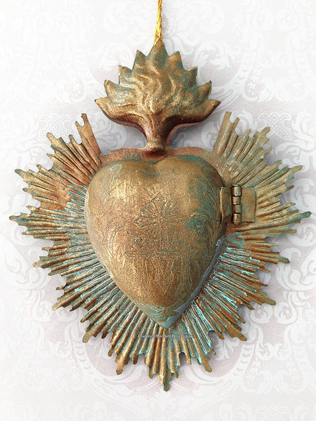 Flaming Heart Ex-Voto Cachette with Halo and Marian Monogram, Antiqued Gold/Brass