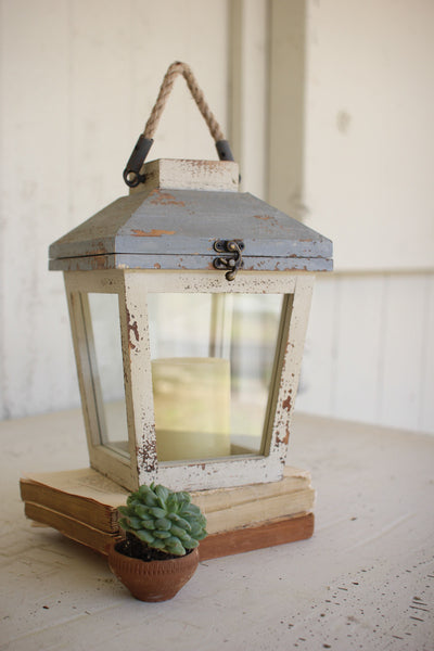 Wood and Glass Lantern, Blue and White
