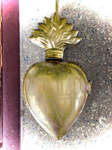 "4.5"" Gold Marian Sacred Heart Locket; Hinged Ex-voto Cachette"