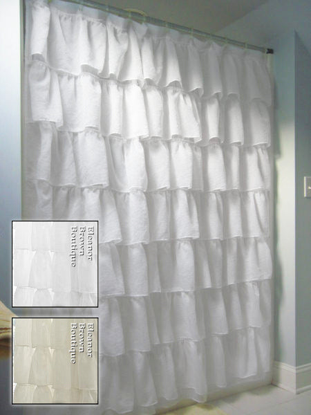 Shabby Crushed Voile Ruffled Shower Curtain 2 Colors Eleanor Brown Boutique