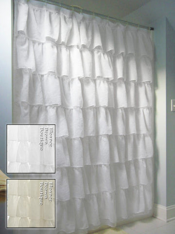 Shabby Crushed Voile Ruffled Shower Curtain - 2 Colors
