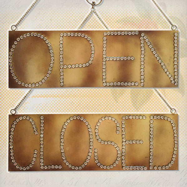 Fancy Rhinestone Open/Closed Sign, Vintage Paste Style