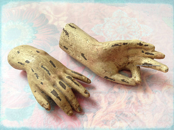 "Pair of Santos Doll Hands; 4"" and 4 1/2"""