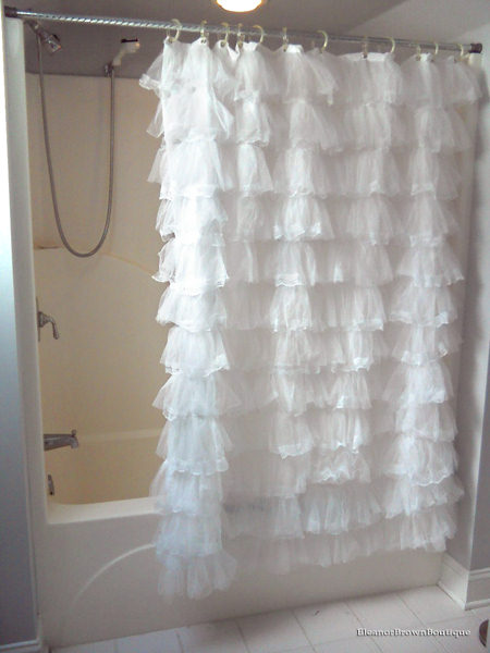 white ruffle shower curtain. White Lace Thick Ruffled Shower Curtain , Country Chic Ruffle