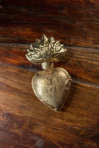 "Flaming Heart Locket - 3 1/2"" Tall, In Silver or Gold Finish"