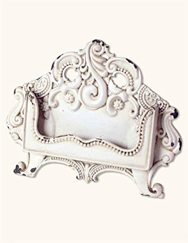 Distressed Metal Business Card Holder in Antique White
