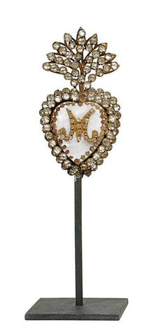 French Jeweled Mother of Pearl Flaming Heart Ex-Voto on Metal Stand