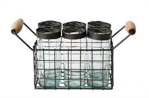 Farmhouse Wire Basket with 6 Glass Jars and Frog Lids