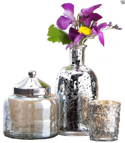 Three Piece Silver Mercury Glass Set - Etched Vase, Lidded Jar, Votive Holder