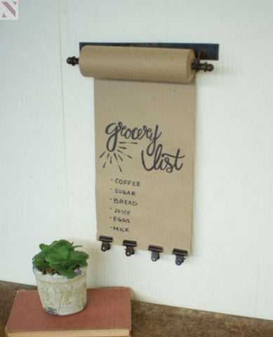 Hanging Kraft Paper Note Roll with Vintage Brass Clips