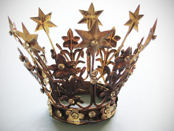 French Madonna Crown, Gorgeous with Rhinestones and Rust