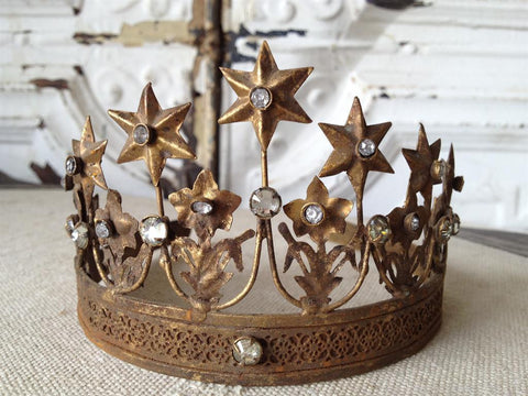 French Star Fleur de Lis Rhinestone and Brass Tiara: Vintage style Santos Crown
