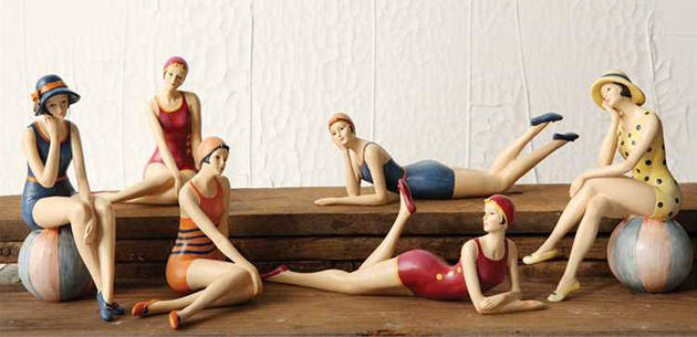 Bathing Beauty Figurines in Vintage Swimsuits