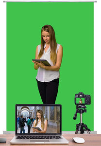 KHOMO GEAR Green Screen Backdrop Pro Home Office Studio Chroma Key for Photography and Videos with Portable Padded Case 100 x 200 cm