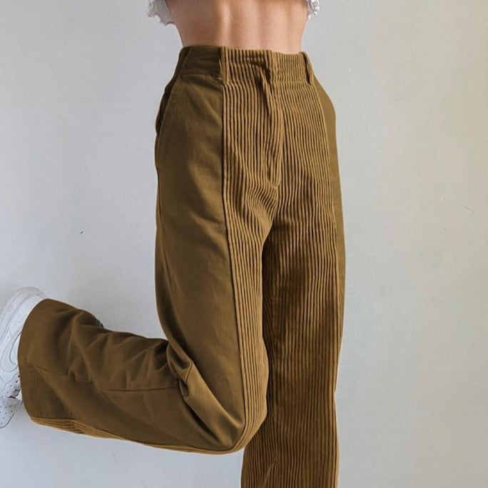 Glambear 200000366 Sweetown Corduroy Y2K Baggy Joggers Women Brown Patchwork Straight Trousers Neon Color Vintage 90s Aesthetic Streetwear Pants