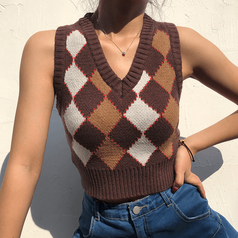 Glambear Brown Argyle Knit Vest Top