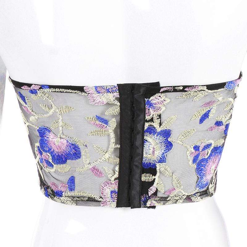 glambear Floral Embroidery Tube Top
