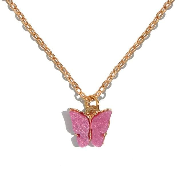 glambear hot pink Pastel Butterly Necklace