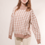 Glambear Houndstooth Pullover Top