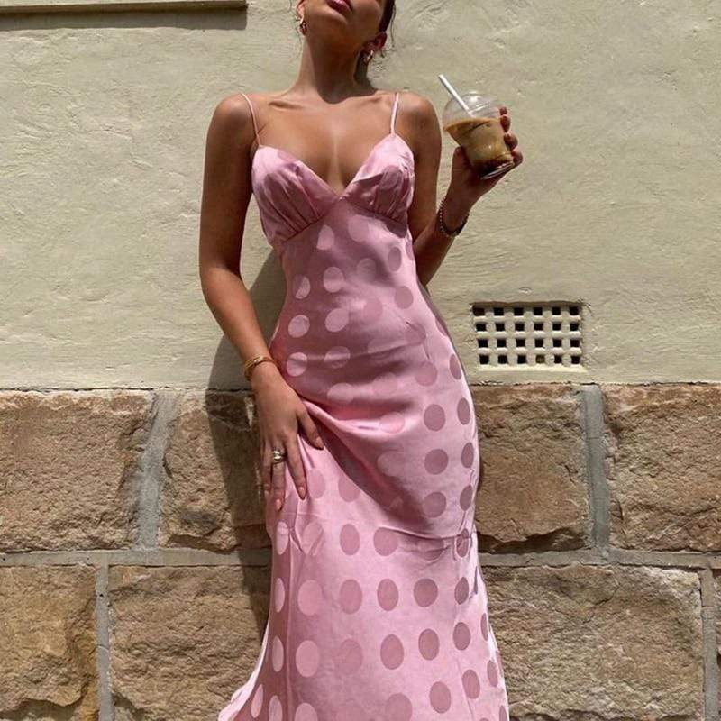 Glambear Pink Polka Satin Slip Dress