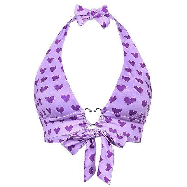 Glambear Purple / One Size Hearts All Over Halter Cami