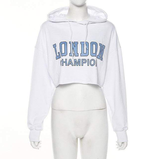 glambear White / S London Champion Cropped Hoodie