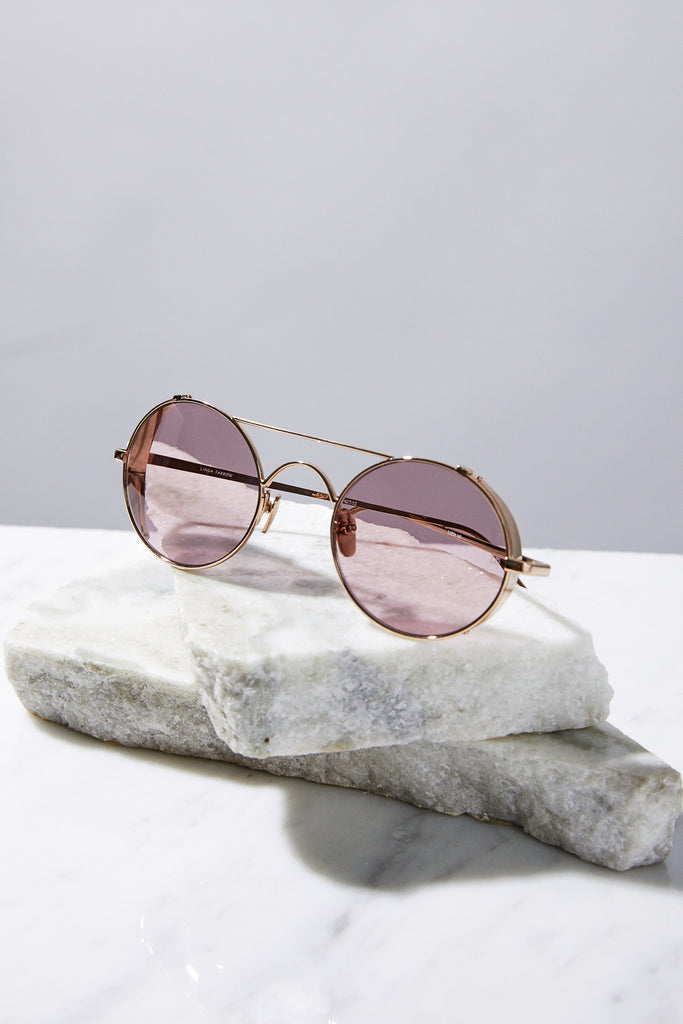 Round Aviators with Side Caps, Light Gold/Purple