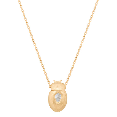 Baby Scarab and Pear Diamond Thin Chain Necklace, 14K Gold