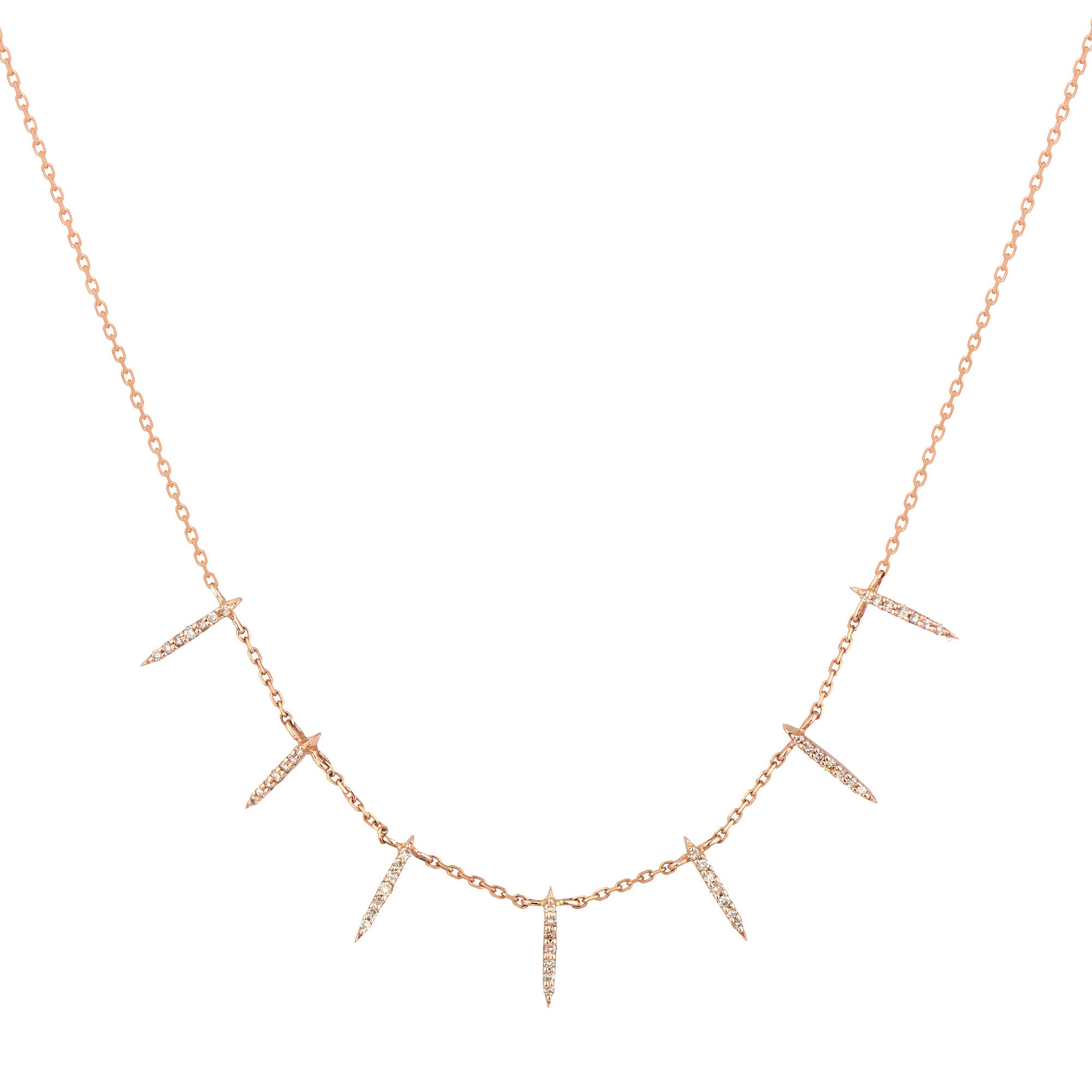 Seven Sunbeams Diamon Necklace, 14k Gold