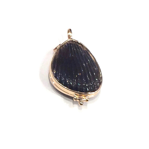 Carved Lima Locket Smokey Quartz Charm