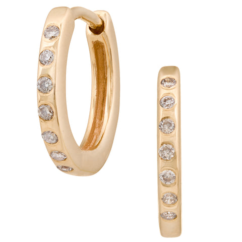 Diamond Hoops Mini Creoles Earrings, Pair, 14kGold