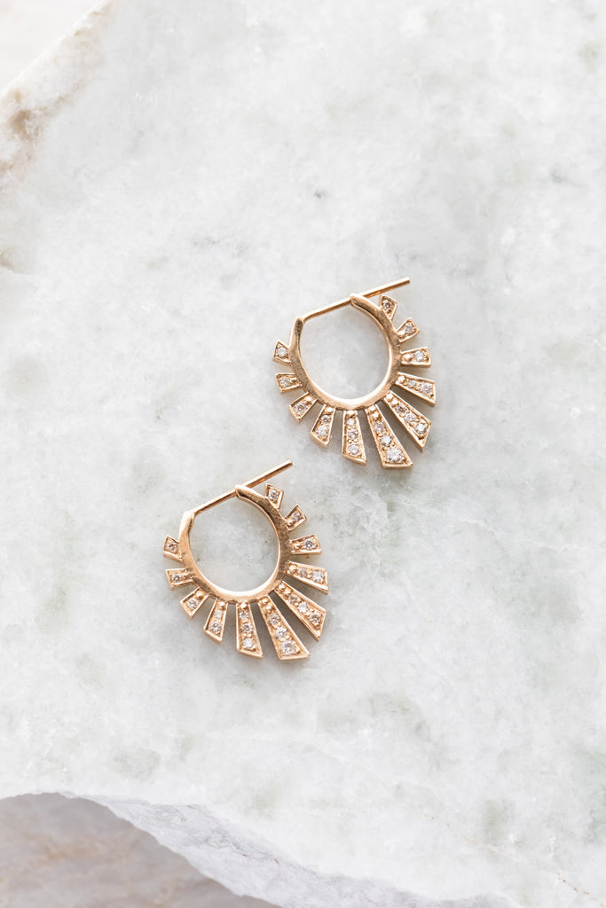 Astek Sun Earrings + Diamonds
