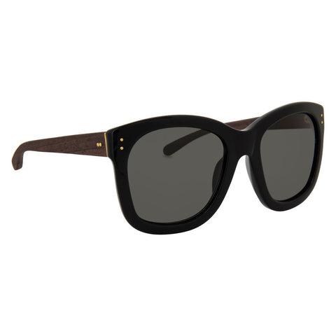 Black Square Frame with Wooden Arms and Grey Lenses