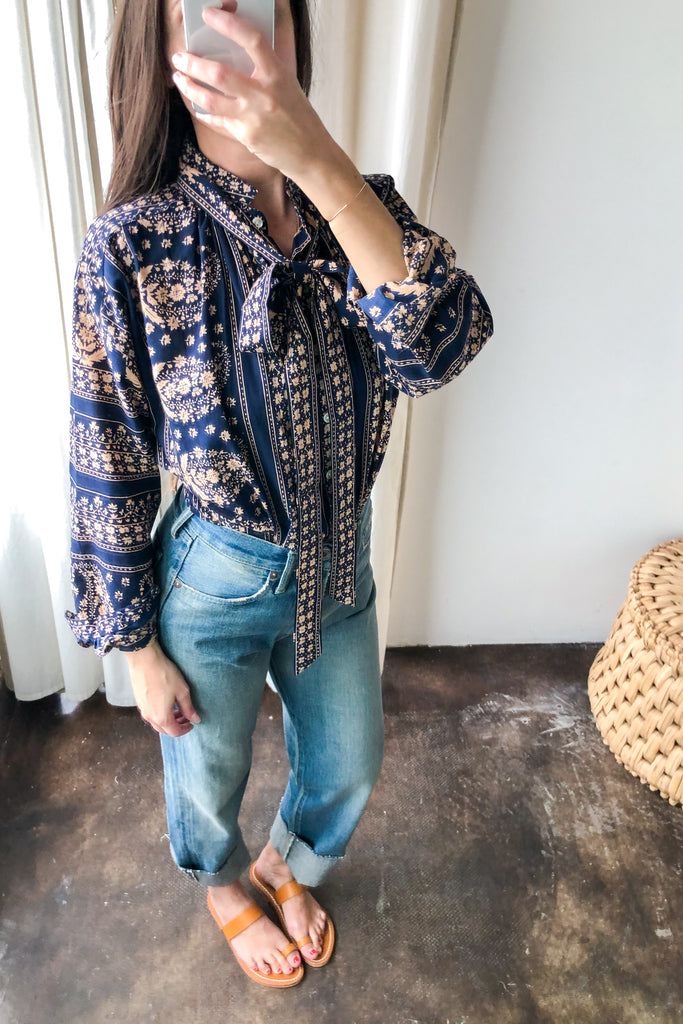 Kiki Top Navy Paisley