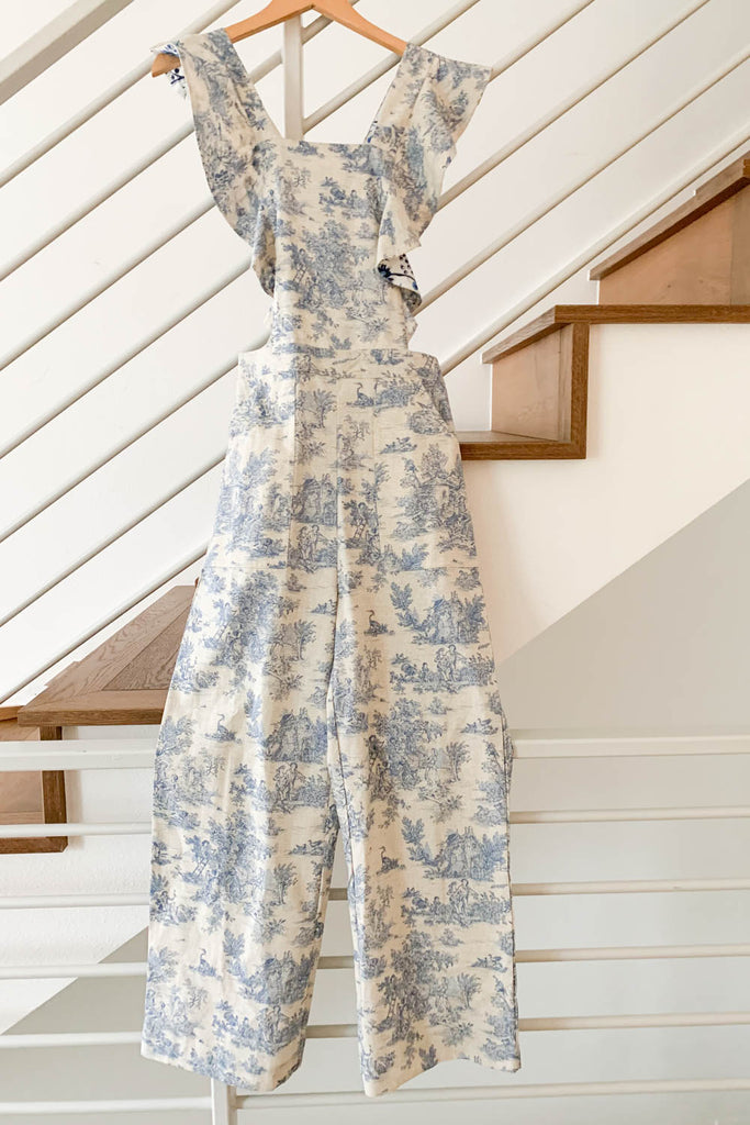 Alix of Bohemia Olive Overalls Blue Toile Jumpsuit