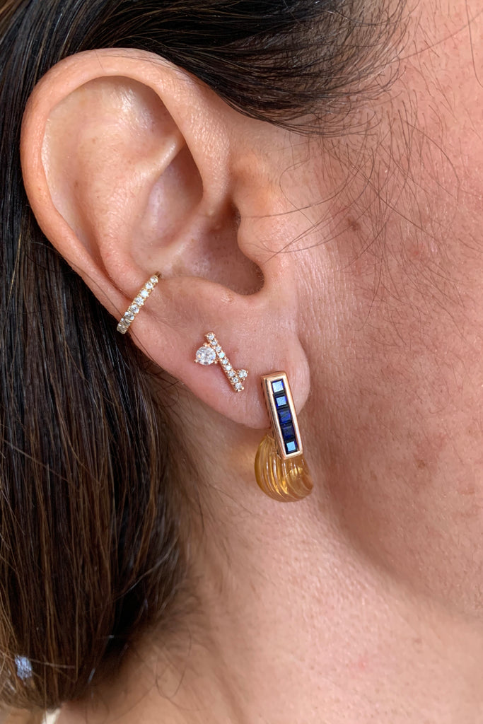 Citrine Sapphire Fin Enamel Earrings