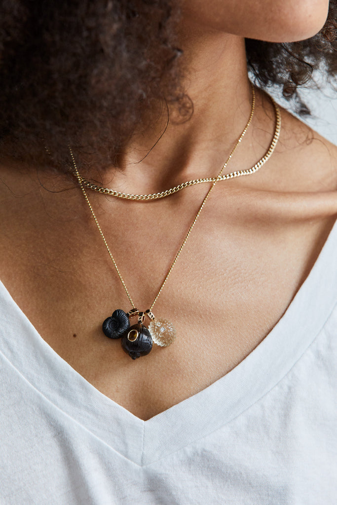 Petite Smokey Quartz Coquito with Tourmaline Charm