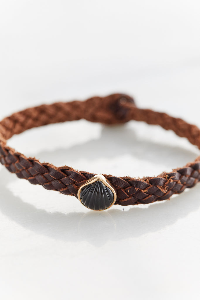 Petite Anadara on Brown Leather Bracelet, Obsidian