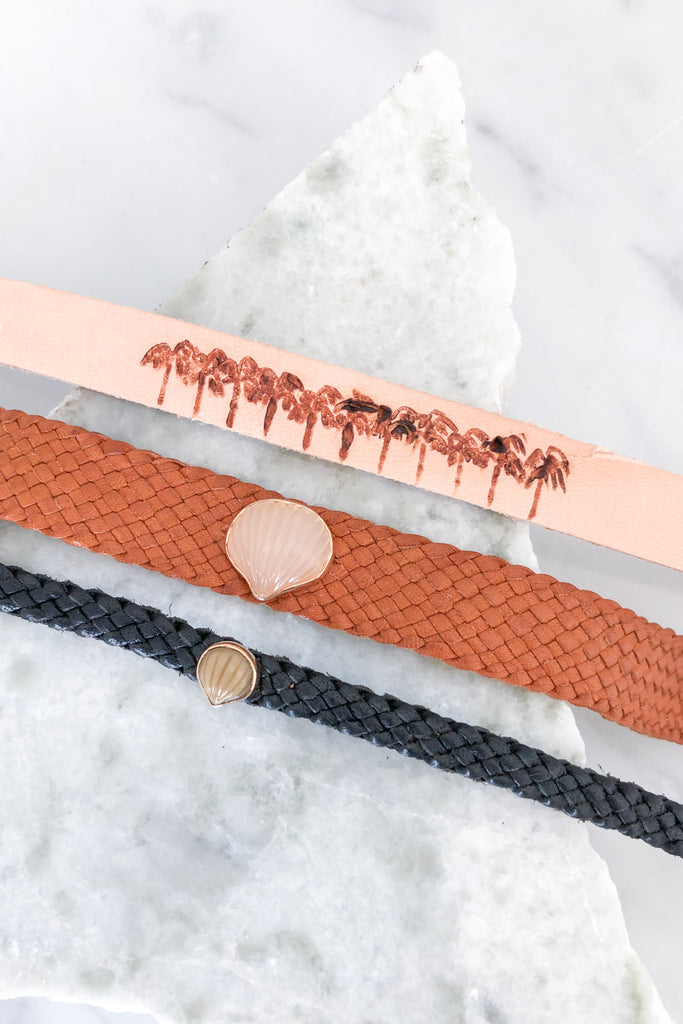 Engraved Palm Trees Leather Bracelet