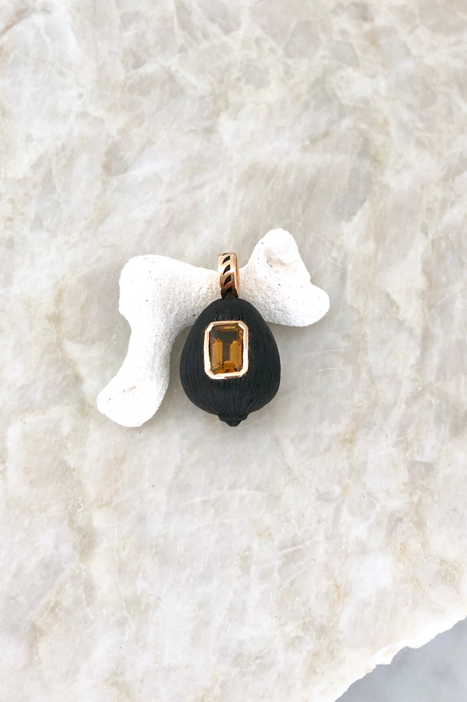 Carved Ebony + Tourmaline Coquito Charm