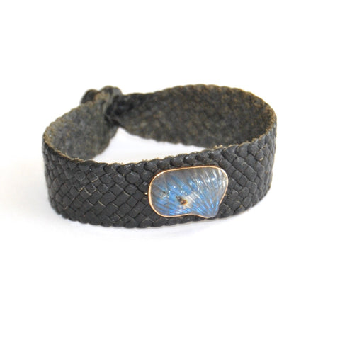 Labradoraite 18K Rose Gold Black Leather Bracelet